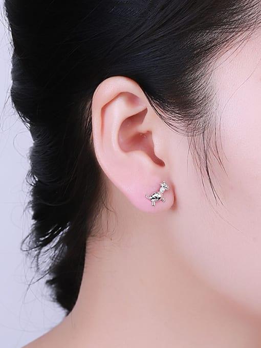 One Silver Cute Donkey Shaped Stud Earrings 1