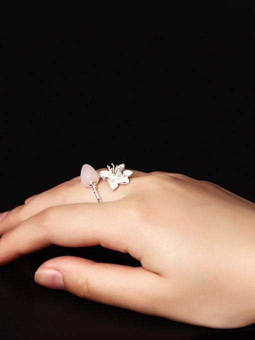 SILVER MI Color Crystal Lotus Opening Ring 1