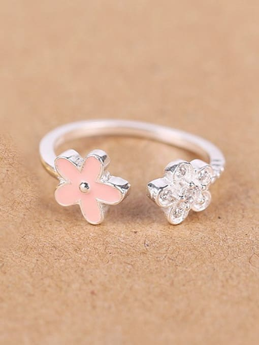 Silver Tiny Flowers Zircon Opening Ring