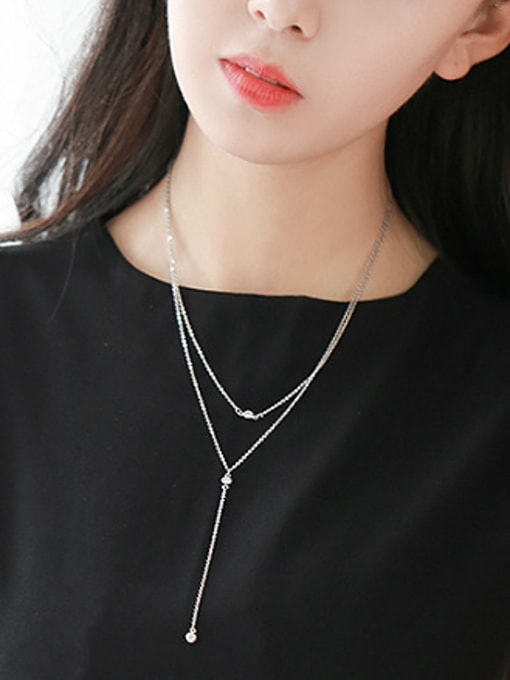Peng Yuan Simple Double Layer Silver Necklace 1