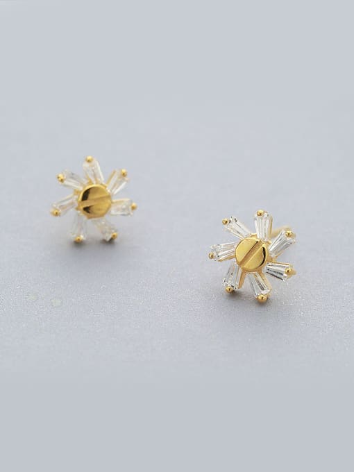 Yellow 925 Silver Gold Plated stud Earring