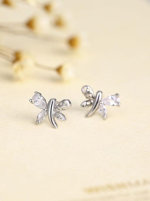 One Silver Fashion Butterfly Shaped Zircon stud Earring 1