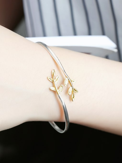 Peng Yuan Gold Plated Leaf Opening bangle 1