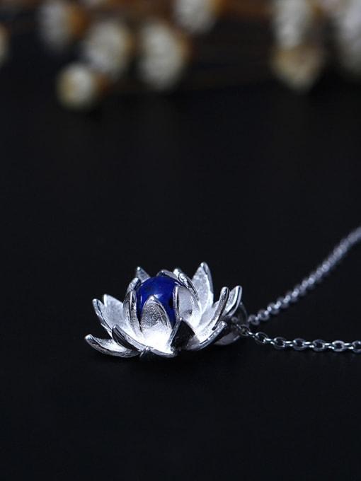 SILVER MI Lotus Flower Blue Stone Women Necklace 2
