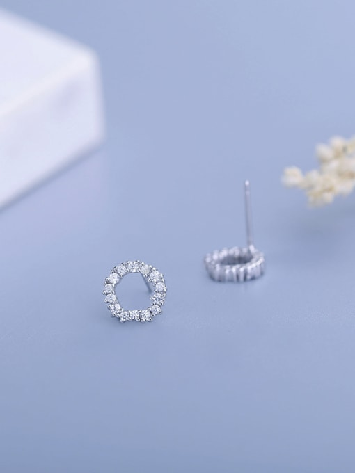 One Silver Fashion Style Round Shaped Earrings 0