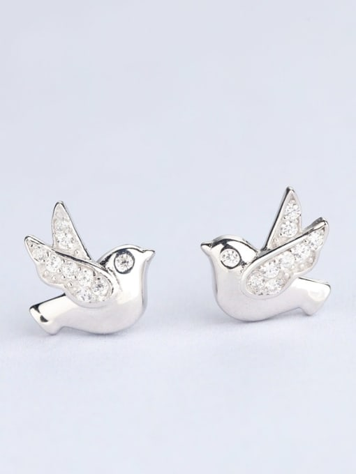 One Silver Women Lovely Bird Shaped stud Earring 2