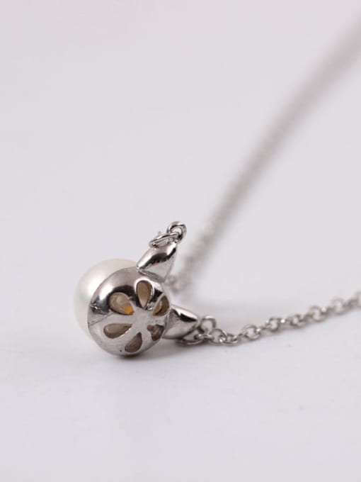 SILVER MI Exquisite S925 Silver Lovely Cat Clavicle Necklace 2