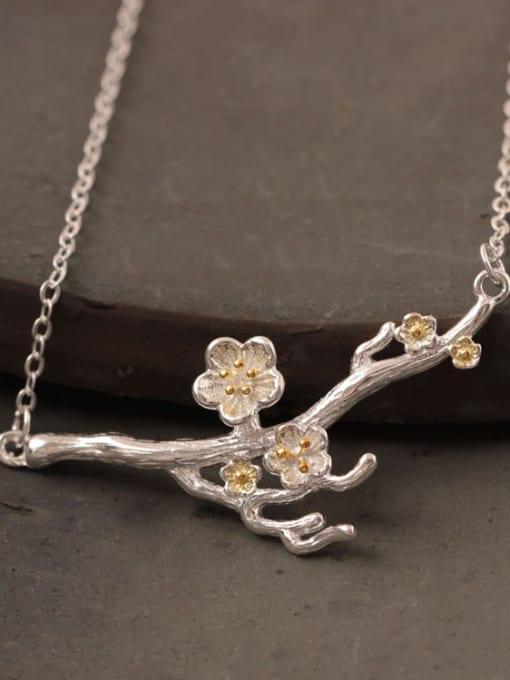 SILVER MI Creative Flower Plum Silver Necklace 1