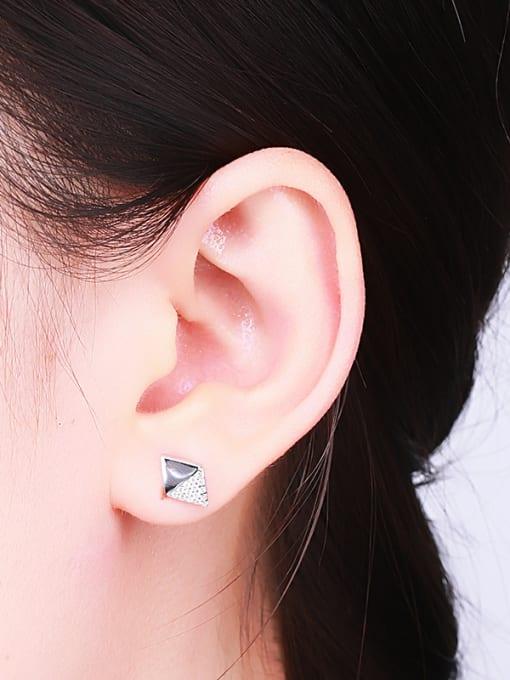 One Silver Women Elegant Geometric Zircon Earrings 1