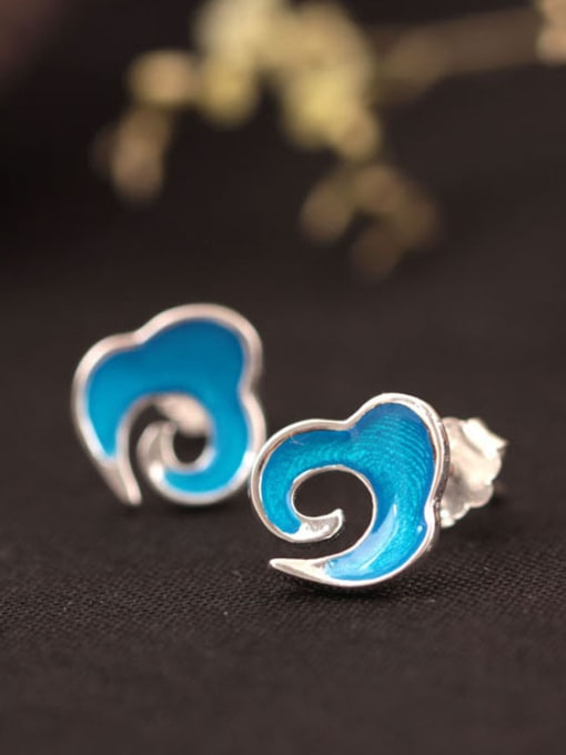 SILVER MI Blue Enamel Clouds Shaped stud Earring 1