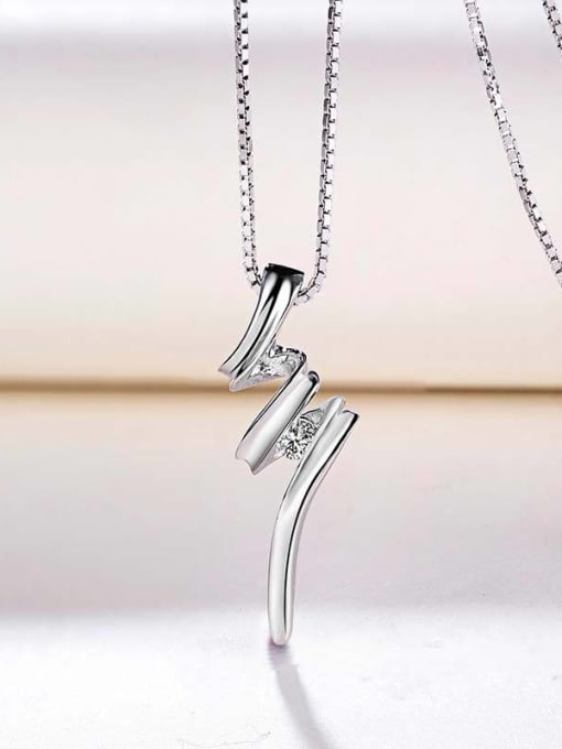 One Silver 925 Silver Wave Shaped Pendant