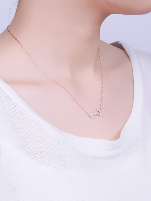 One Silver Fashion Rose God Plated Key Necklace 1