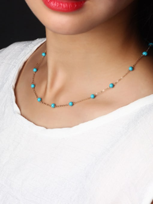 SILVER MI Fashionable Blue Turquoise Clavicle Necklace 1