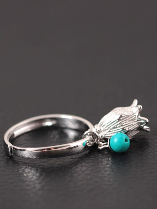 SILVER MI Creative Retro Style Small Flower Opening Ring 1