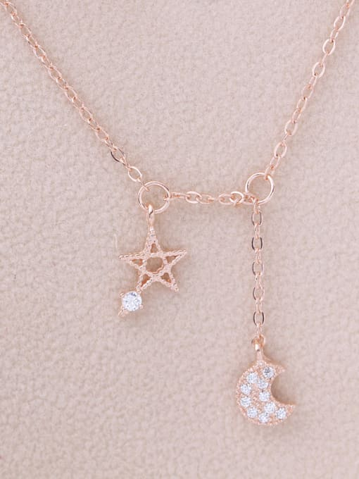 Rose Gold 2018 Moon Star Zircon Silver Necklace