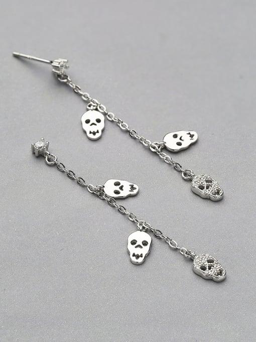 One Silver Women Skull Shaped Stud Earrings 2