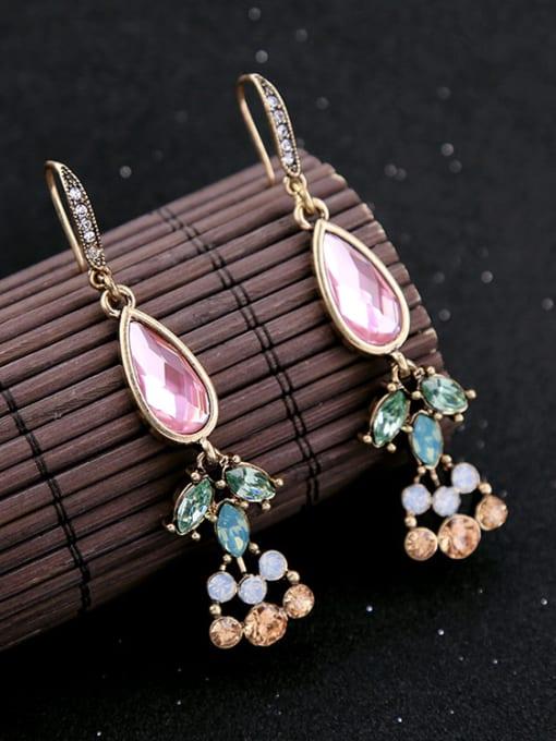KM Elegant Colorful Stones Women Ear Hooks 3