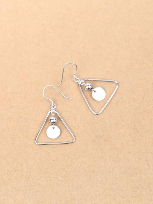 Peng Yuan Simple Hollow Triangle Silver hook earring 2