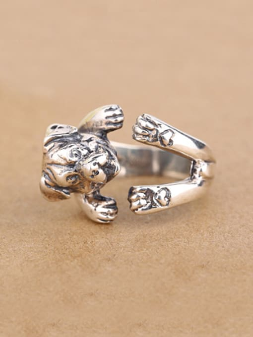 Peng Yuan Personalized Puppy Silver Opening Statement Ring