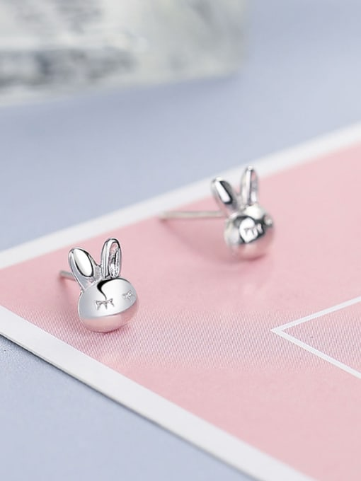 One Silver 925 Silver Rabbit Shaped stud Earring 0