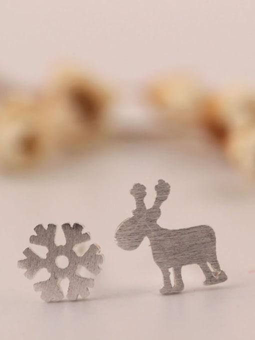 SILVER MI S925 Silver Deer Snowflake Stud Earrings