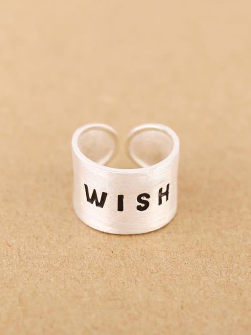 Peng Yuan Personalized WISH Silver Opening Ring 0