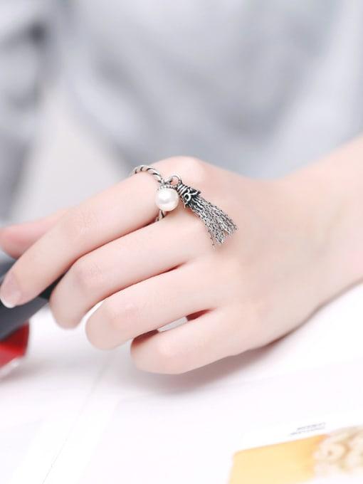 Peng Yuan Freshwater Pearl Garnet Tassels Opening Ring 2