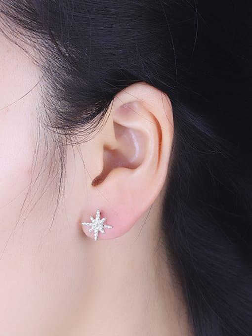 One Silver Women Simply Star Shaped Zircon cuff earring 1