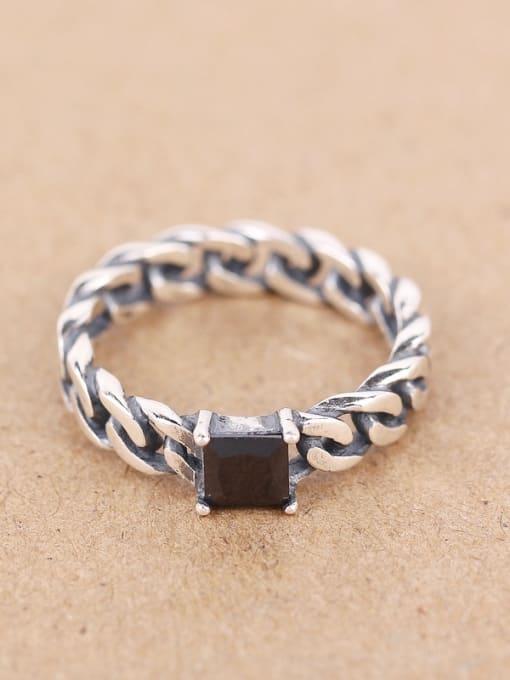Peng Yuan Personalized Black Zircon Chain Ring
