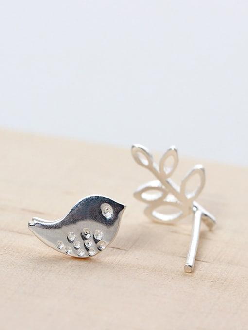 SILVER MI Character Asymmetry Bird Leaf stud Earring 2