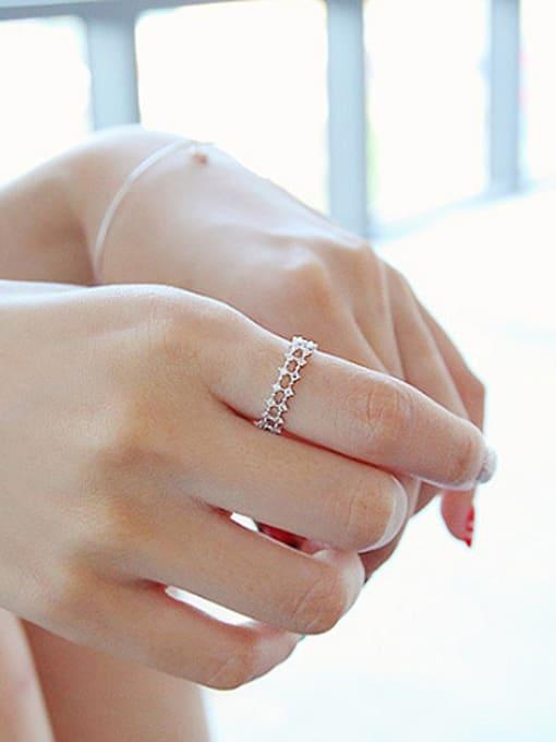 Peng Yuan Fashion Double Row Zircon Silver Ring 1