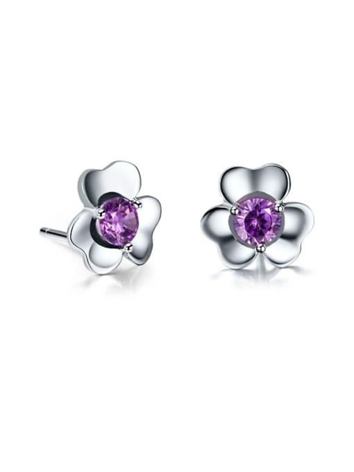 One Silver Women Purple Zircon Flower stud Earring 0