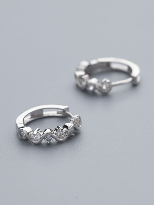 One Silver Fashion 925 Silver Round stud Earring 0