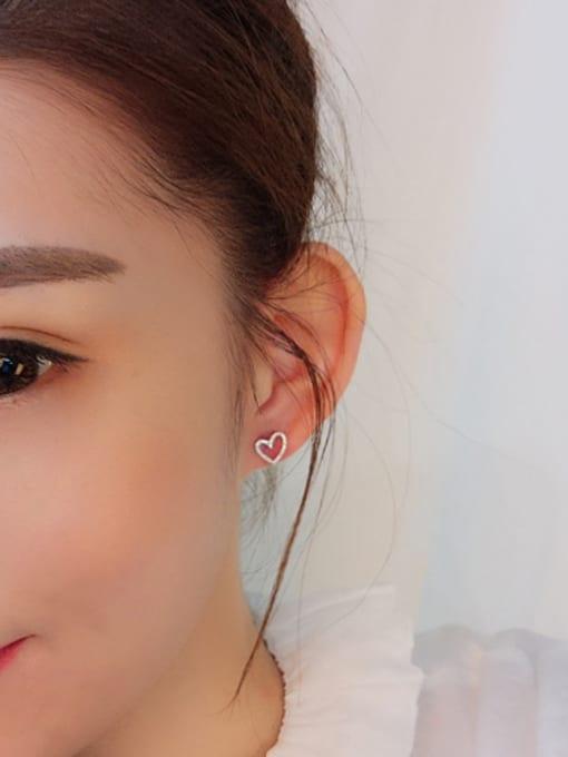 Peng Yuan Hollow Heart-shaped Silver Stud Earrings 1