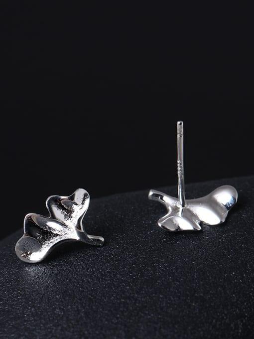 SILVER MI Lovely Small Fresh Ginkgo stud Earring 2