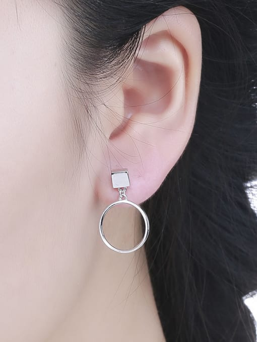 One Silver 925 Silver Elegant Round Shaped hoop earring 1