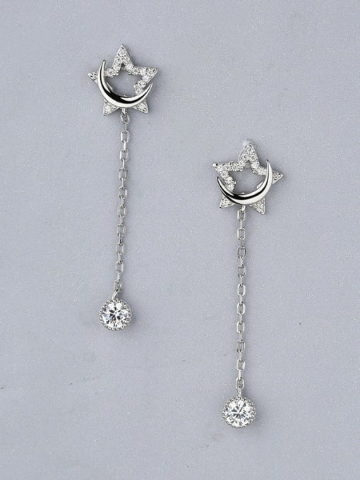 One Silver Women Delicate Star Shaped threader earring 0