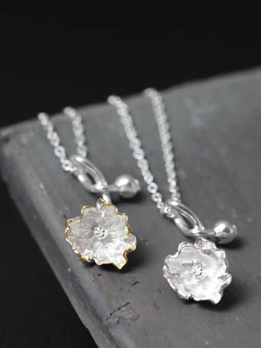 SILVER MI Beautiful Flower Silver Women Necklace 2