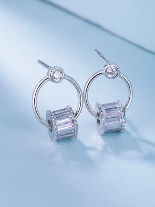 One Silver All-match Geometric Shaped Stud drop earring