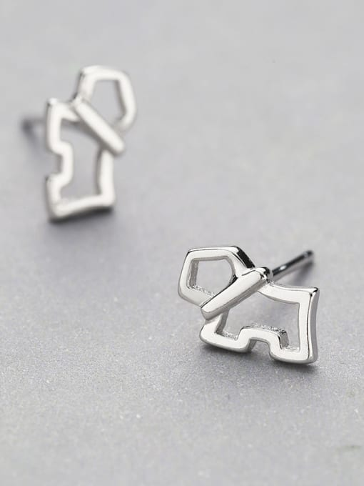 One Silver Lovely Dog Shaped stud Earring 2