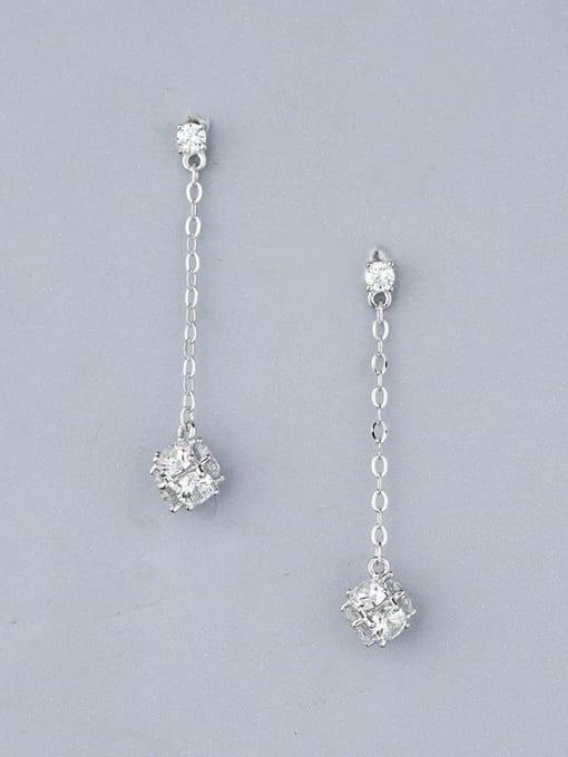 One Silver 925 Silver Zircon Stud threader earring