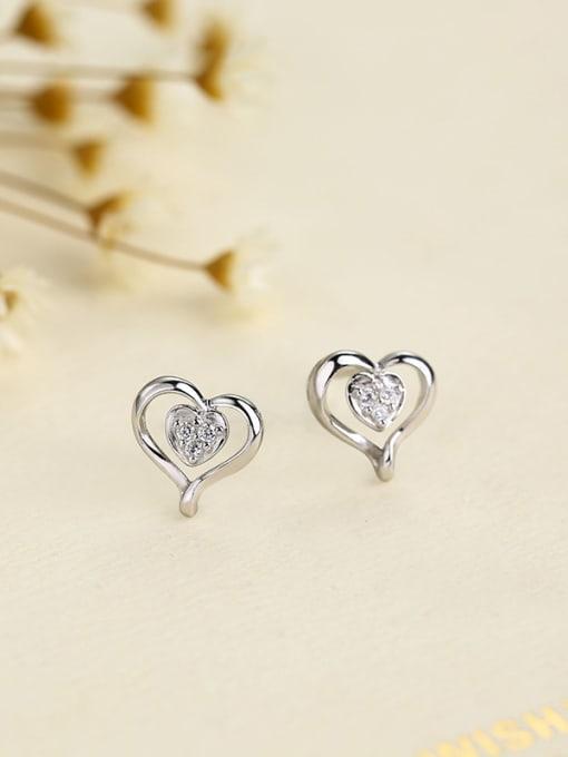 One Silver Elegant Heart Shaped Zircon Earrings