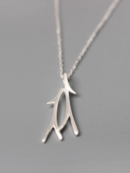 SILVER MI Matt Branch Pendant Women Necklace