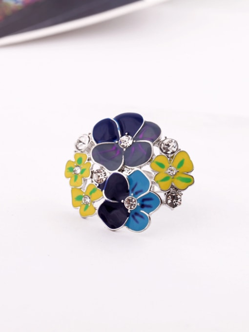 KM Exaggerate Colorful Flower Alloy Statement Ring