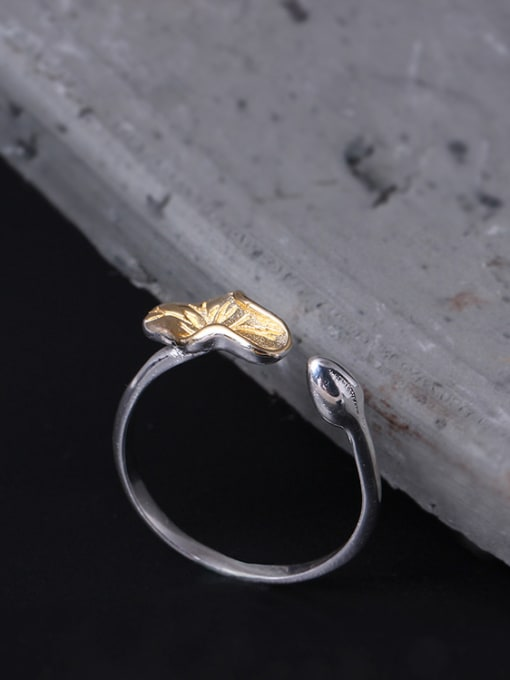 SILVER MI Color Lotus Leaf Opening Statement Ring 1