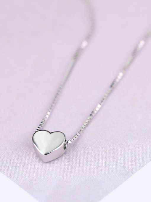 Peng Yuan Simple Heart shaped Silver Necklace 0