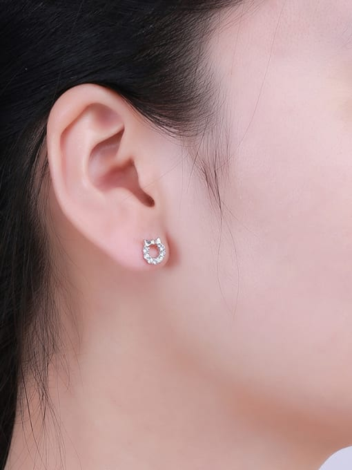 One Silver 925 Silver Bowknot Shaped stud Earring 1