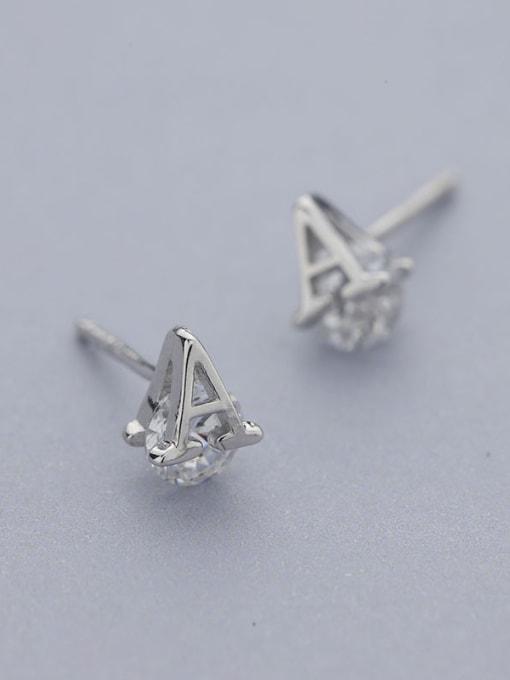 One Silver Women A Shaped stud Earring 2