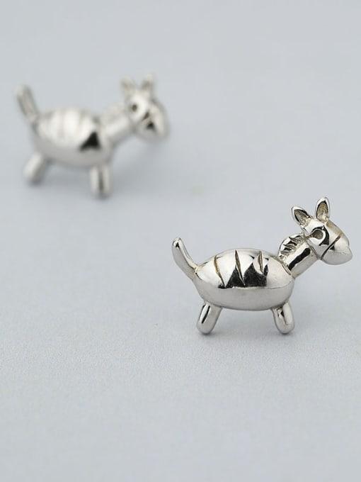 One Silver Cute Donkey Shaped Stud Earrings 3