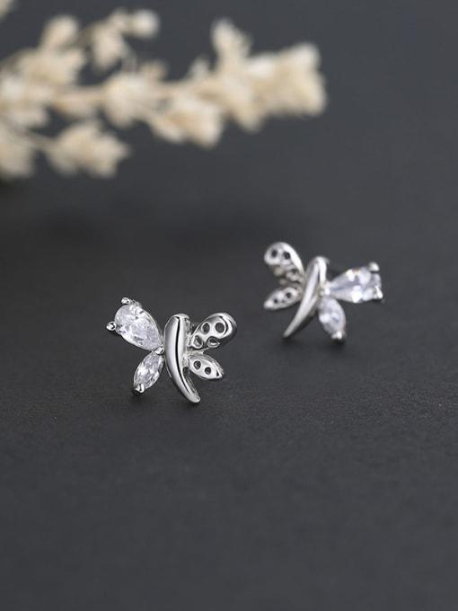 One Silver Fashion Butterfly Shaped Zircon stud Earring 2